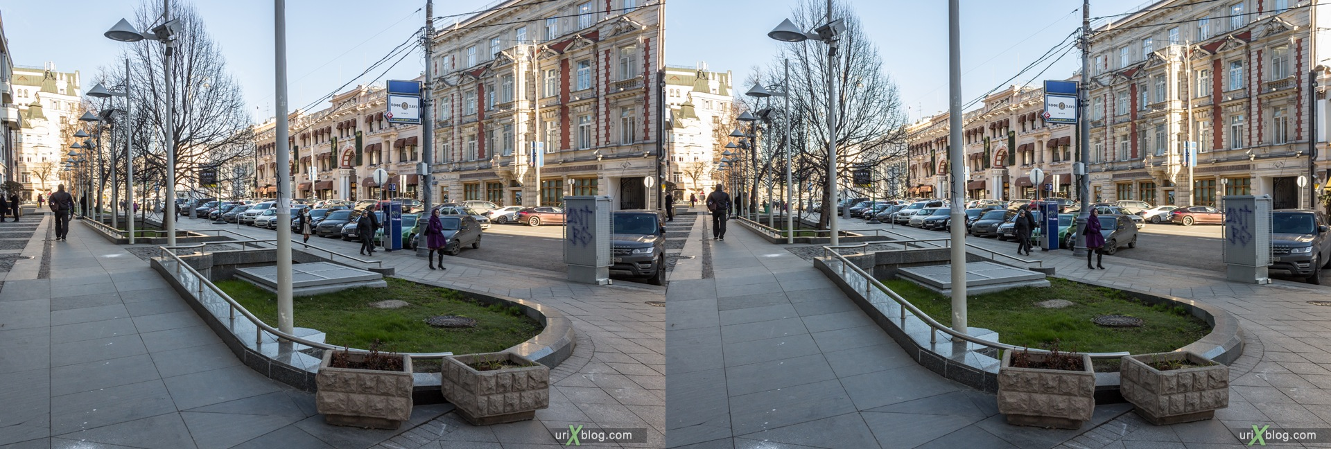 2013, Moscow, Russia, Petrovka, street, new pedestrian zone, 3D, stereo pair, cross-eyed, crossview, cross view stereo pair, stereoscopic
