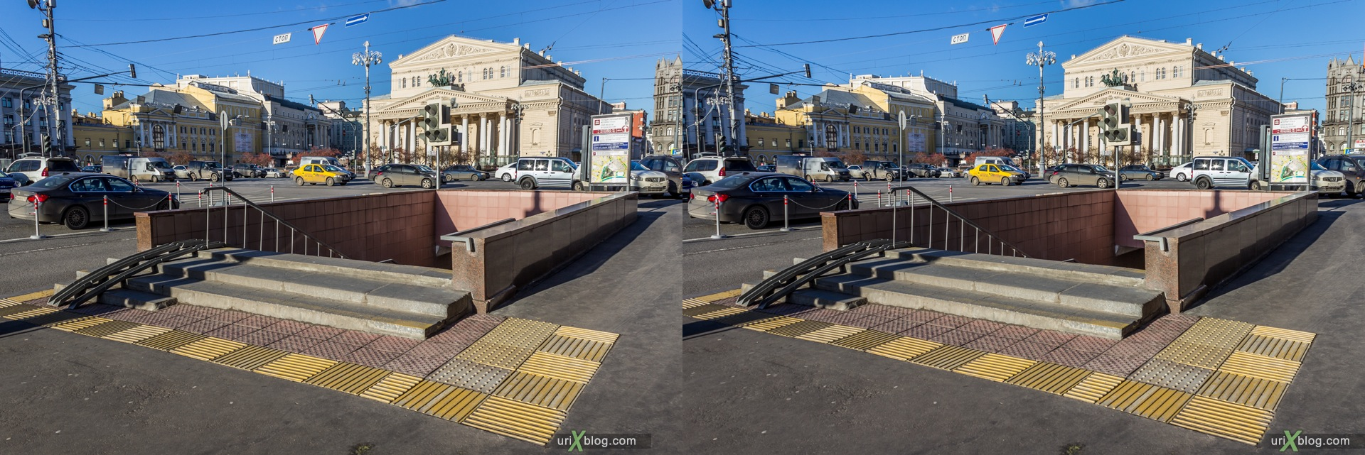 2013, Moscow, Russia, Teatralnaya square, Theatre square, subway, underpass, Bolshow theatre, Grand theatre, 3D, stereo pair, cross-eyed, crossview, cross view stereo pair, stereoscopic
