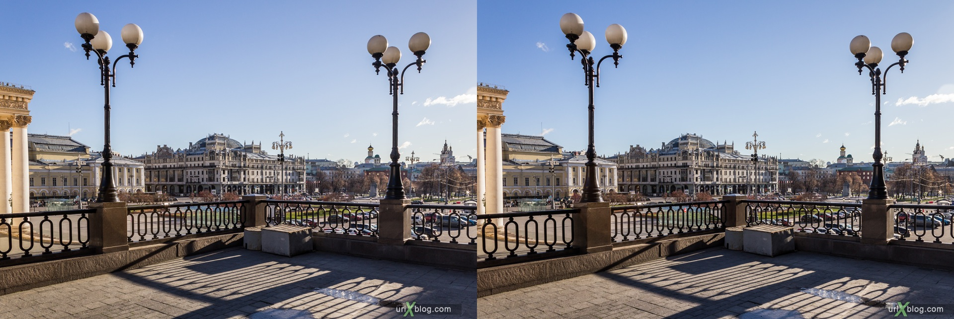 2013, Moscow, Russia, Teatralnaya square, Theatre square, Bolshow theatre, Grand theatre, Hotel Metropol, 3D, stereo pair, cross-eyed, crossview, cross view stereo pair, stereoscopic