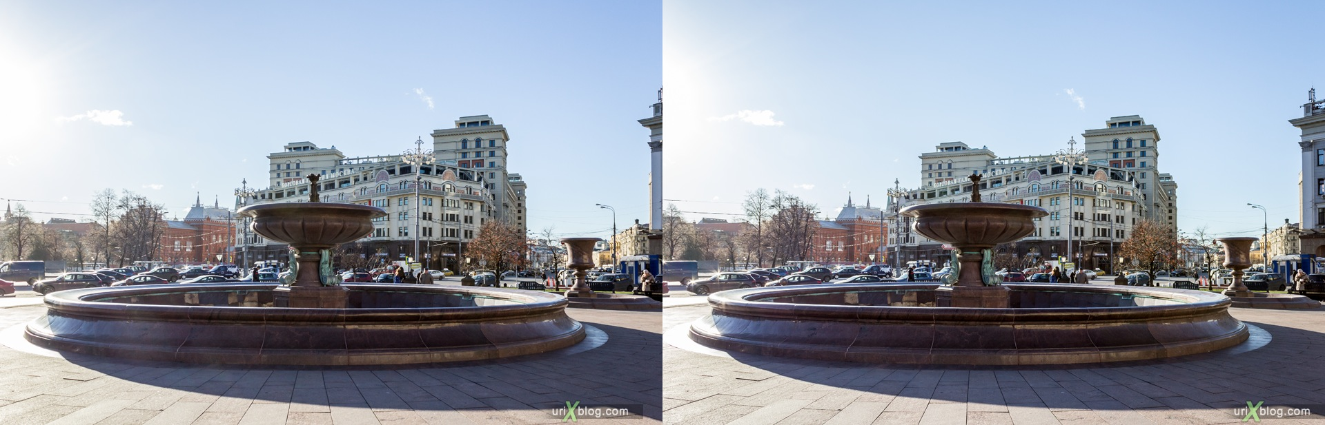 2013, Moscow, Russia, Teatralnaya square, Theatre square, Hotel Moscow, fountain, 3D, stereo pair, cross-eyed, crossview, cross view stereo pair, stereoscopic
