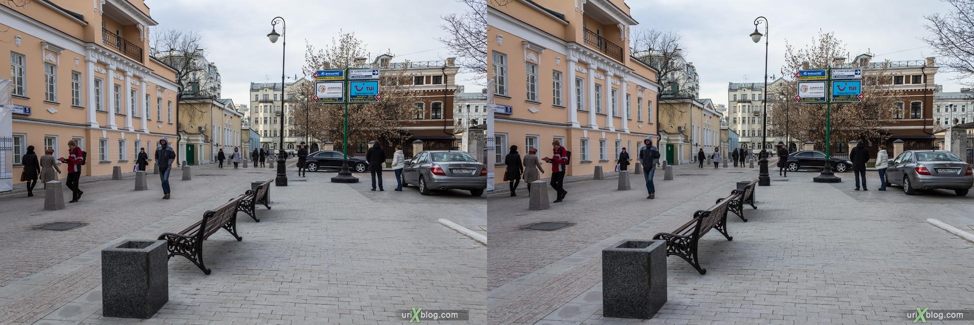 2013, Moscow, Russia, Bolshoy Tolmachovsky alley, metro, street, new pedestrian zone, 3D, stereo pair, cross-eyed, crossview, cross view stereo pair, stereoscopic