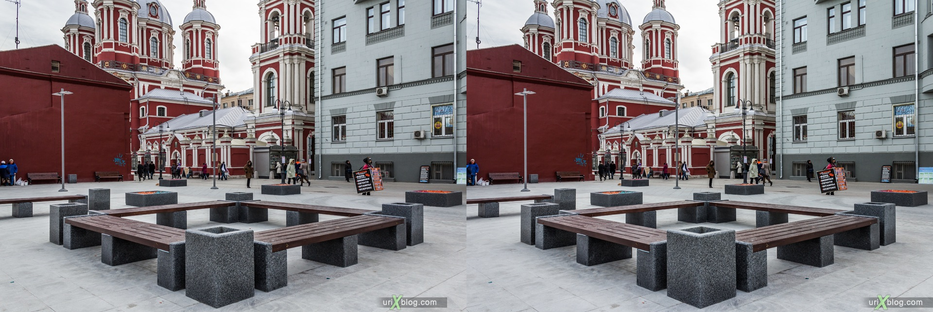 2013, Moscow, Russia, Tratjakovskaya, metro, square, church, street, new pedestrian zone, 3D, stereo pair, cross-eyed, crossview, cross view stereo pair, stereoscopic
