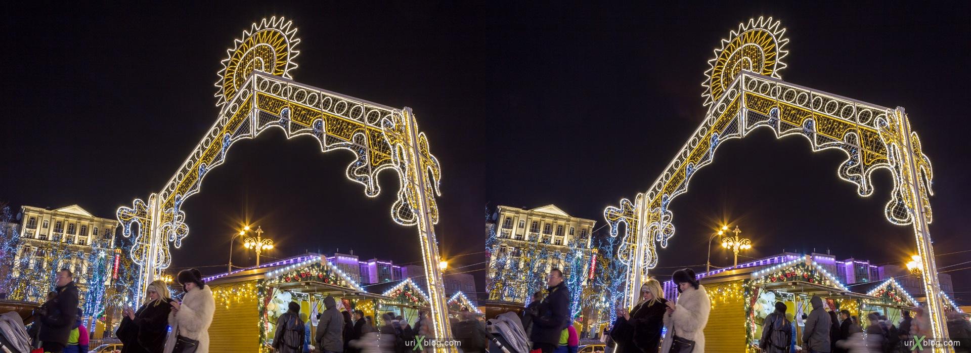 2013, Москва, Россия, Новый год, ночь, зима, лампочки, 3D, перекрёстная стереопара, стерео, стереопара
