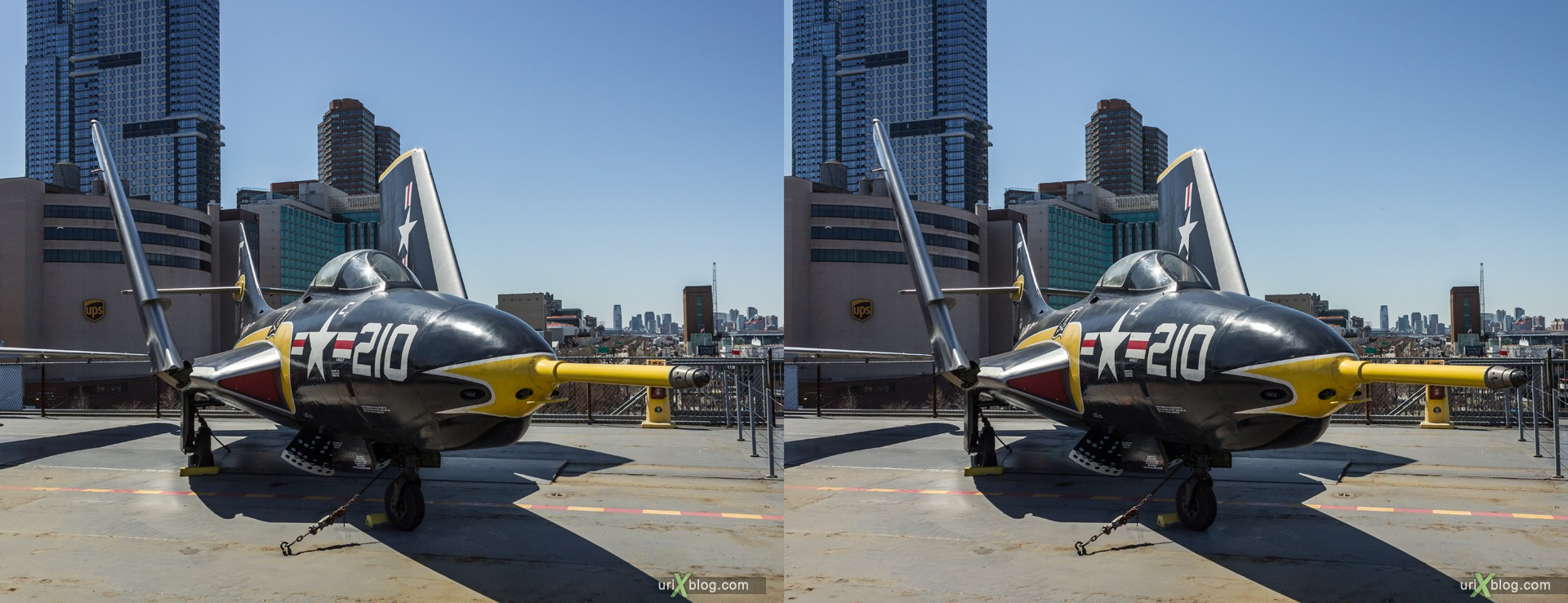 2013, USA, NYC, New York, aircraft carrier Intrepid museum, Grumman F9F-8 (AF-9J) Cougar, sea, air, space, ship, submarine, aircraft, airplane, helicopter, military, 3D, stereo pair, cross-eyed, crossview, cross view stereo pair, stereoscopic