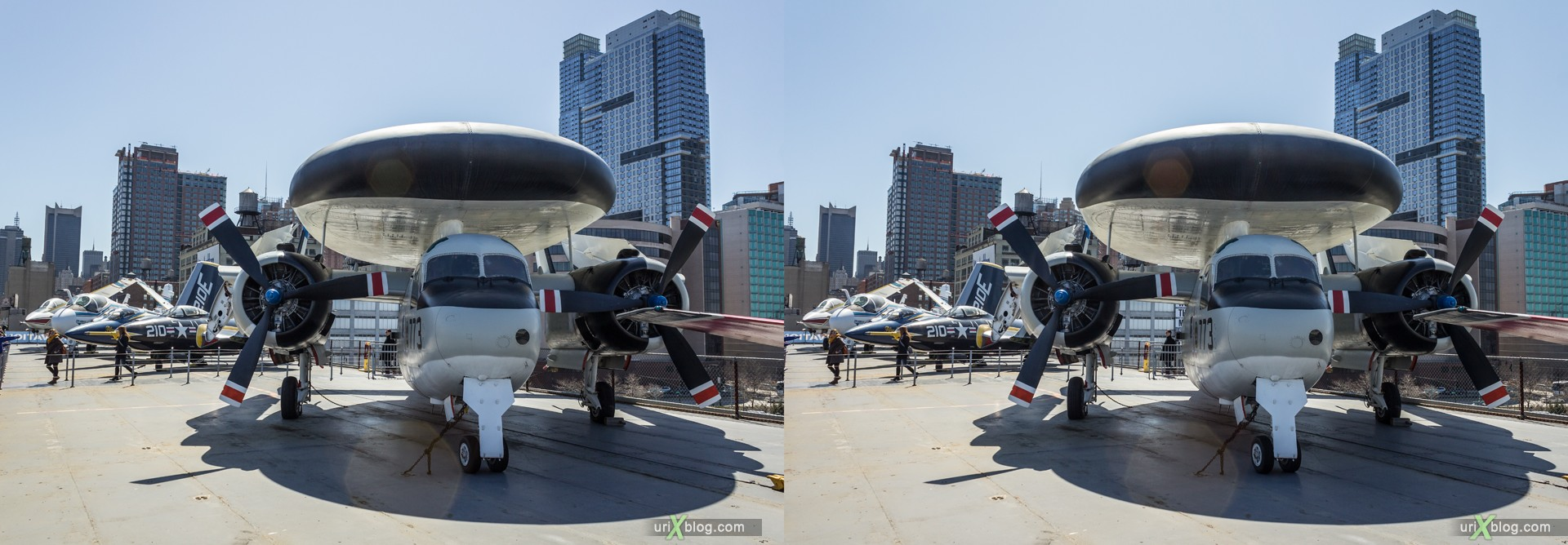 2013, USA, NYC, New York, aircraft carrier Intrepid museum, E-1B Tracer, sea, air, space, ship, submarine, aircraft, airplane, helicopter, military, 3D, stereo pair, cross-eyed, crossview, cross view stereo pair, stereoscopic