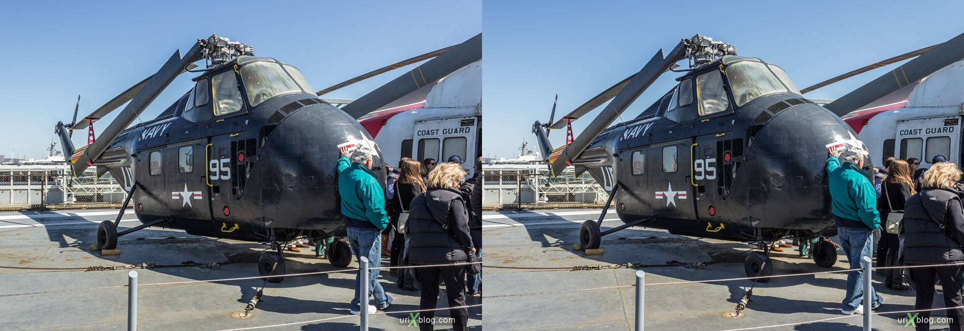 2013, USA, NYC, New York, aircraft carrier Intrepid museum, Sikorsky HRS helicopter, HRS, sea, air, space, ship, submarine, aircraft, airplane, military, 3D, stereo pair, cross-eyed, crossview, cross view stereo pair, stereoscopic