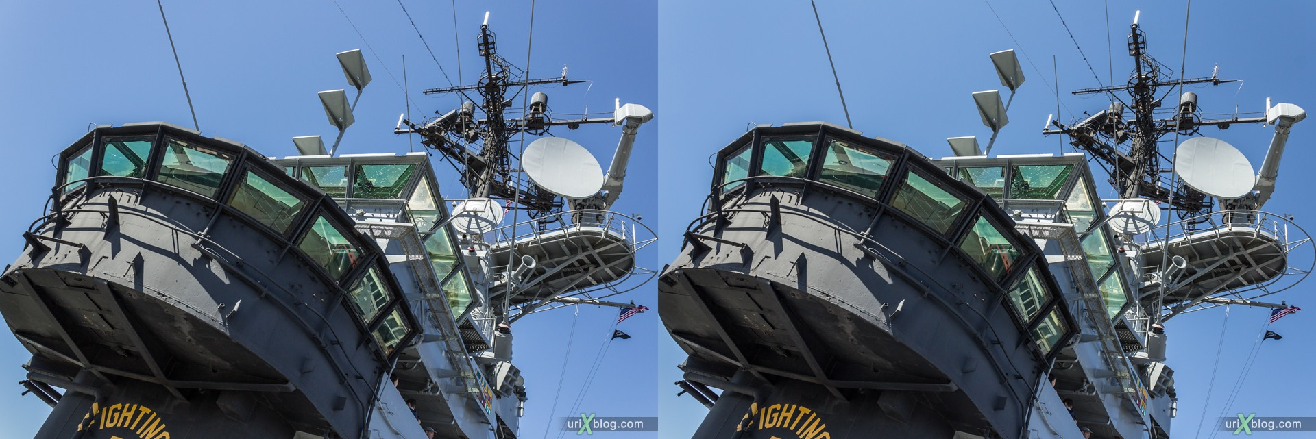 2013, USA, NYC, New York, aircraft carrier Intrepid museum, Island, sea, air, space, ship, submarine, aircraft, airplane, helicopter, military, 3D, stereo pair, cross-eyed, crossview, cross view stereo pair, stereoscopic