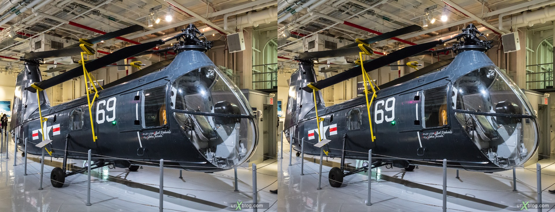 2013, USA, NYC, New York, aircraft carrier Intrepid museum, HUP-2 Retriever, sea, air, space, ship, submarine, aircraft, airplane, helicopter, military, 3D, stereo pair, cross-eyed, crossview, cross view stereo pair, stereoscopic