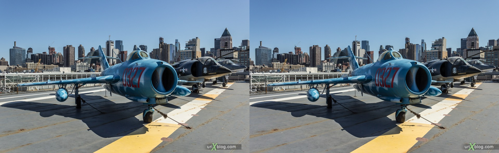 2013, USA, NYC, New York, aircraft carrier Intrepid museum, MiG-17, sea, air, space, ship, submarine, aircraft, airplane, helicopter, military, 3D, stereo pair, cross-eyed, crossview, cross view stereo pair, stereoscopic