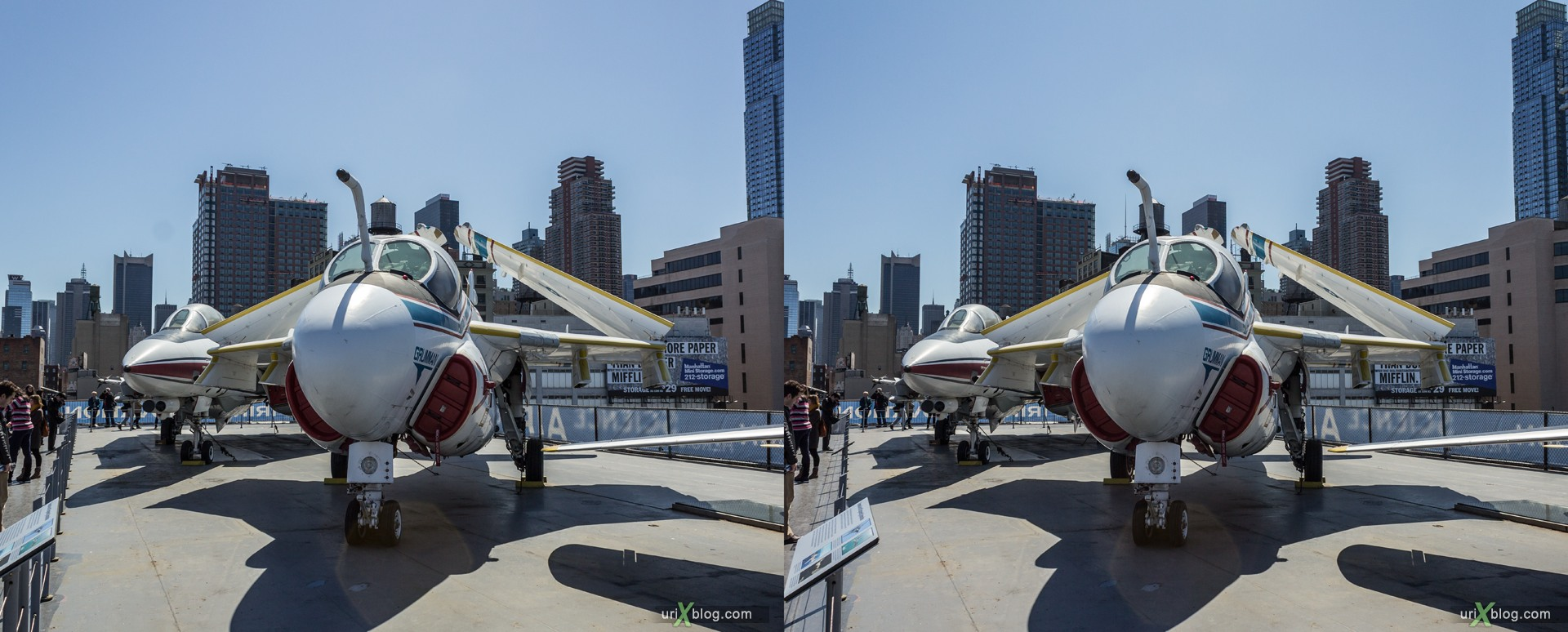 2013, USA, NYC, New York, aircraft carrier Intrepid museum, Grumman A-6 Intruder, sea, air, space, ship, submarine, aircraft, airplane, helicopter, military, 3D, stereo pair, cross-eyed, crossview, cross view stereo pair, stereoscopic