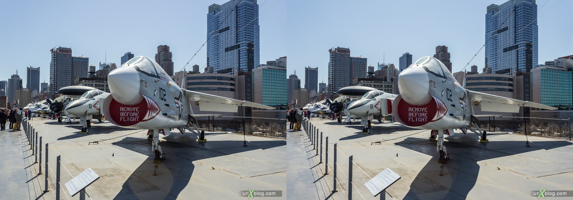 2013, USA, NYC, New York, aircraft carrier Intrepid museum, Vought F-8 Crusader, sea, air, space, ship, submarine, aircraft, airplane, helicopter, military, 3D, stereo pair, cross-eyed, crossview, cross view stereo pair, stereoscopic