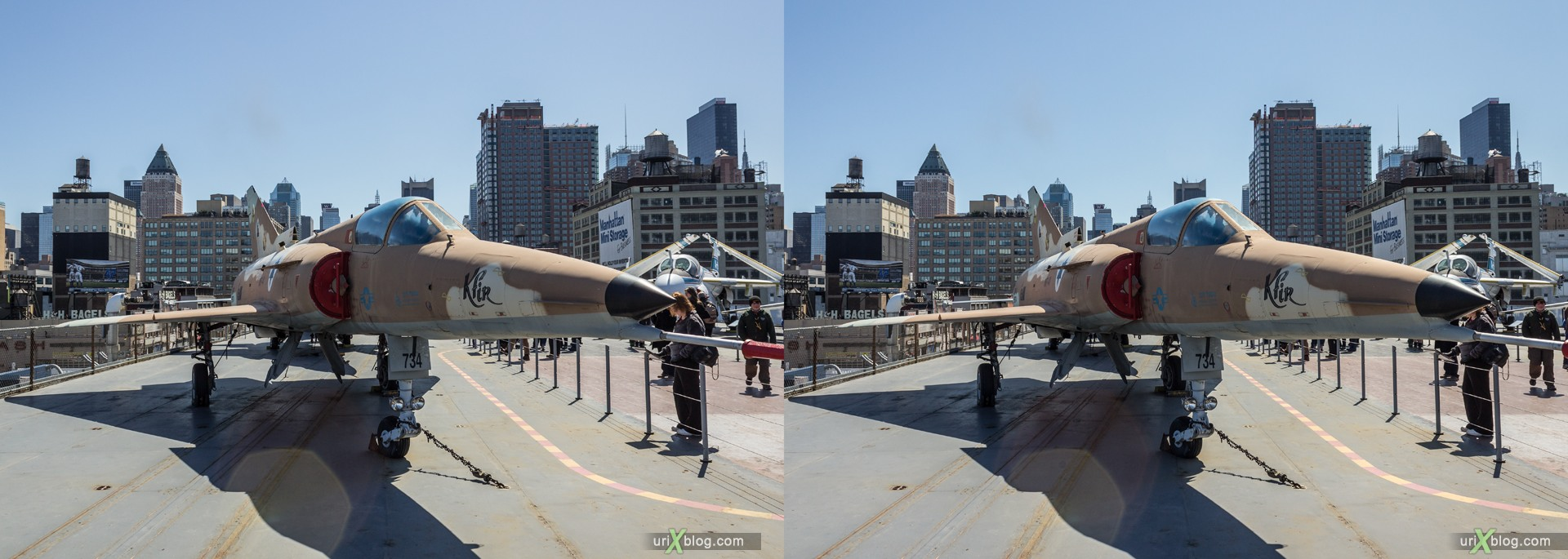 2013, USA, NYC, New York, aircraft carrier Intrepid museum, Israel Aircraft Industries Kfir, sea, air, space, ship, submarine, aircraft, airplane, helicopter, military, 3D, stereo pair, cross-eyed, crossview, cross view stereo pair, stereoscopic