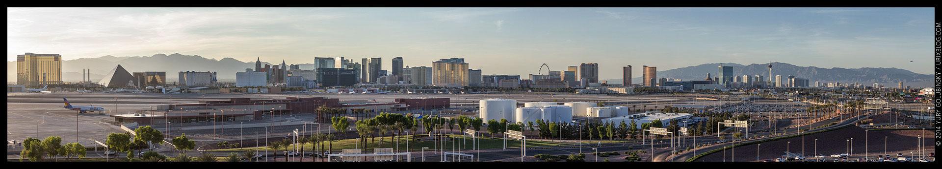Mandalay Bay, Stratosphere tower, casino, hotel, 2014, LAS, Las Vegas McCarran International airport, strip, LV, Clark County, USA, Nevada, panorama, horizon, city