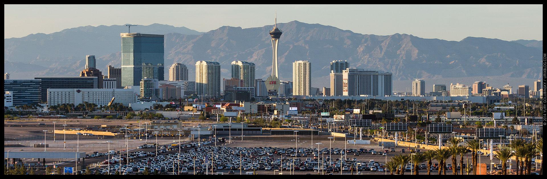 Stratosphere tower, casino, hotel, parking, mountains, 2014, LAS, Las Vegas McCarran International airport, strip, LV, Clark County, USA, Nevada, panorama, horizon, city