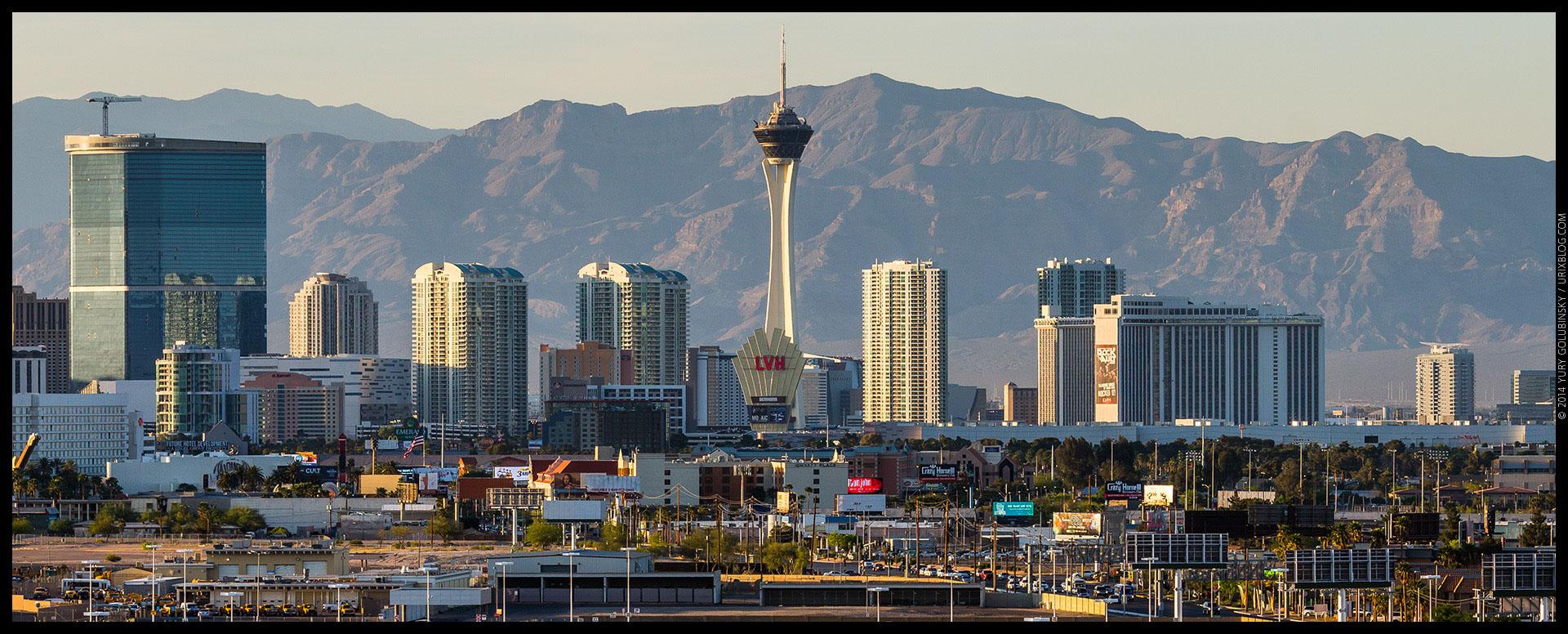 Stratosphere tower, casino, hotel, mountains, 2014, LAS, Las Vegas McCarran International airport, strip, LV, Clark County, USA, Nevada, panorama, horizon, city