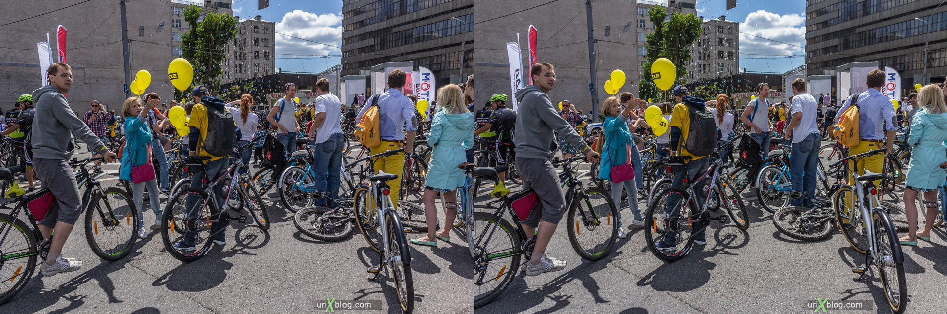 2014, bicycle, parade, Moscow, Russia, Garden Ring avenue, summer, june, 3D, stereo pair, cross-eyed, crossview, cross view stereo pair, stereoscopic