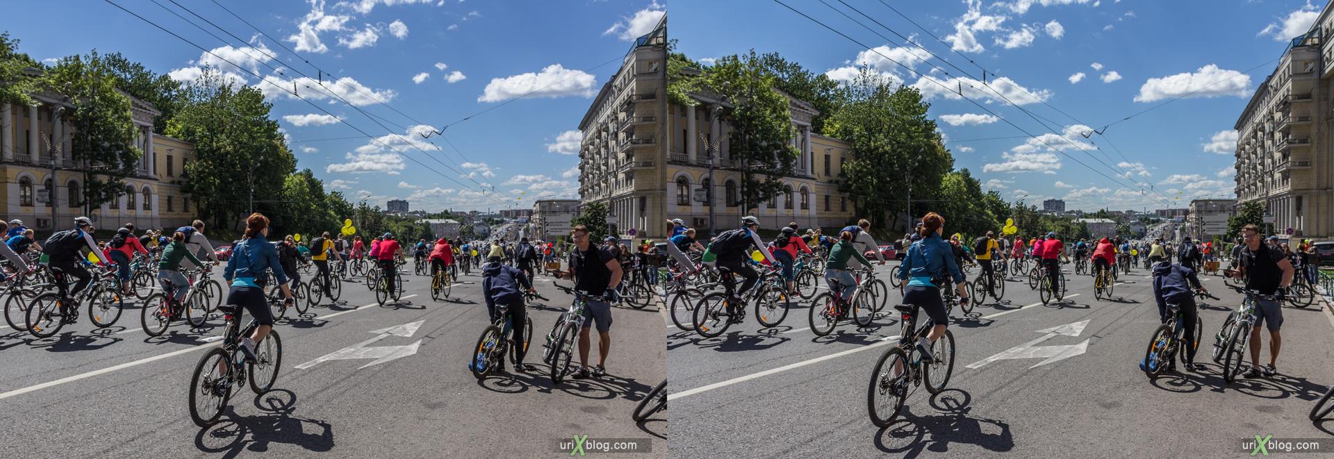2014, велопарад, Москва, Россия, Садовое кольцо, Яуза, лето, июнь, велосипеды, 3D, перекрёстная стереопара, стерео, стереопара