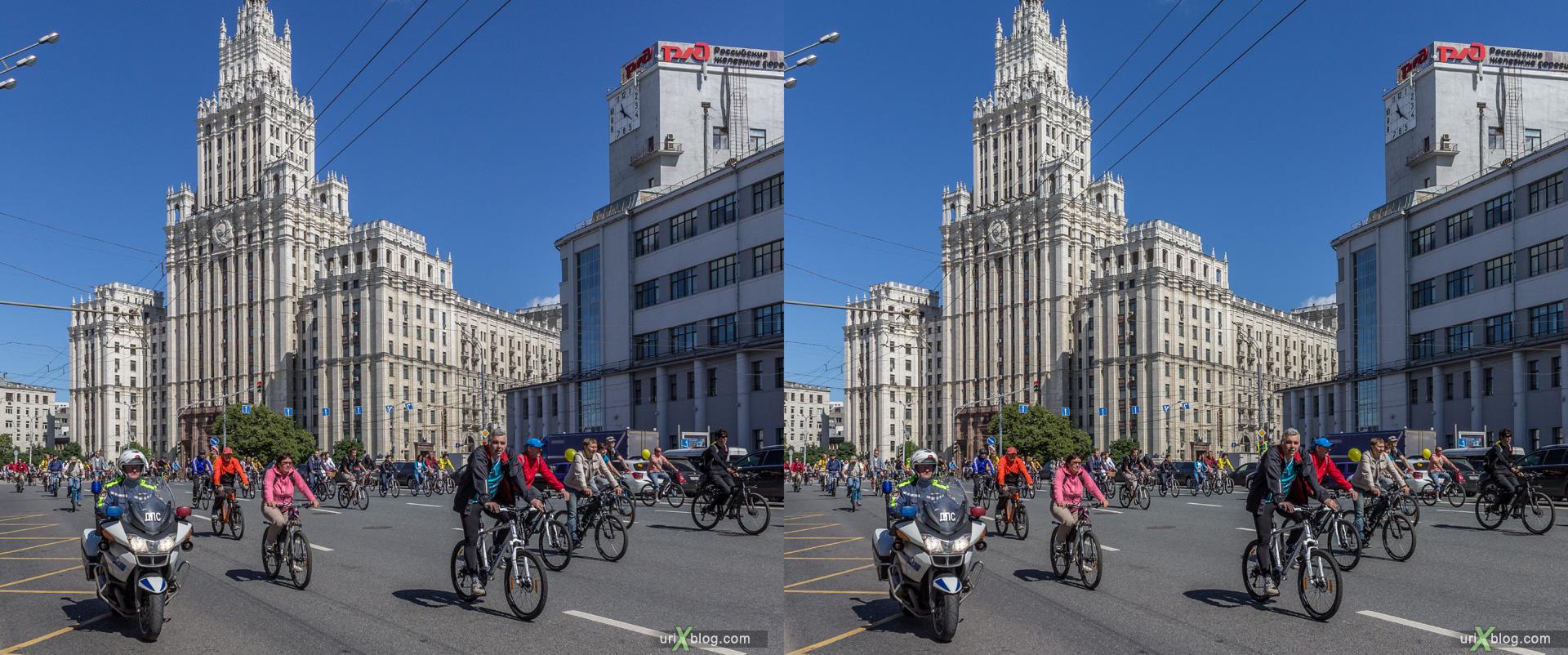 2014, велопарад, Москва, Россия, Садовое кольцо, Красные ворота, лето, июнь, велосипеды, 3D, перекрёстная стереопара, стерео, стереопара