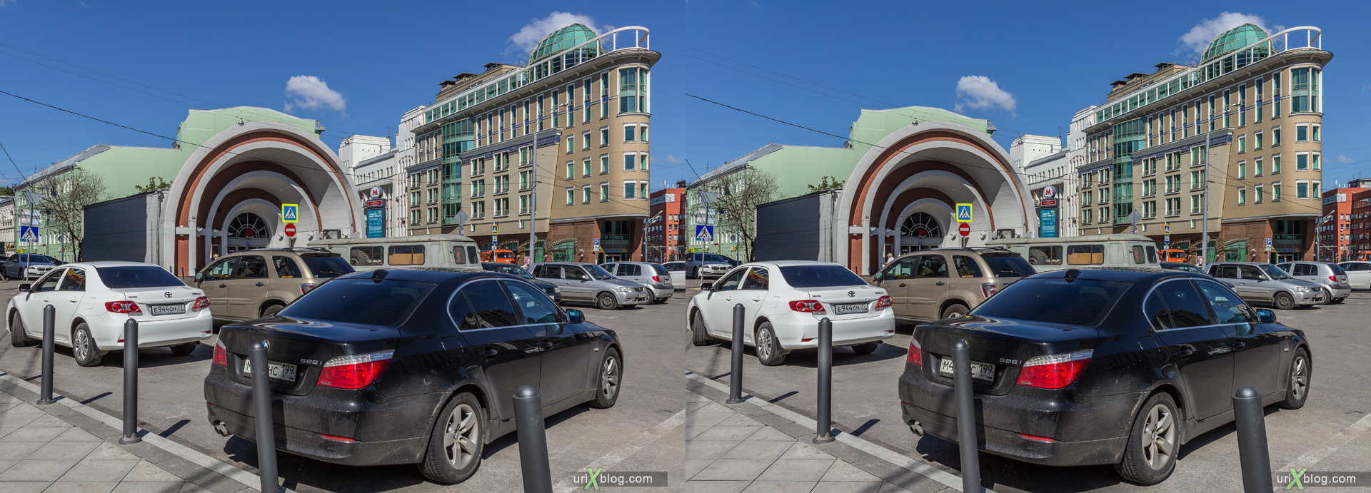 2014, Red Gates, Krasnye vorota, metro station, Moscow, Russia, sunny, blue sky, cars, square, 3D, stereo pair, cross-eyed, crossview, cross view stereo pair, stereoscopic