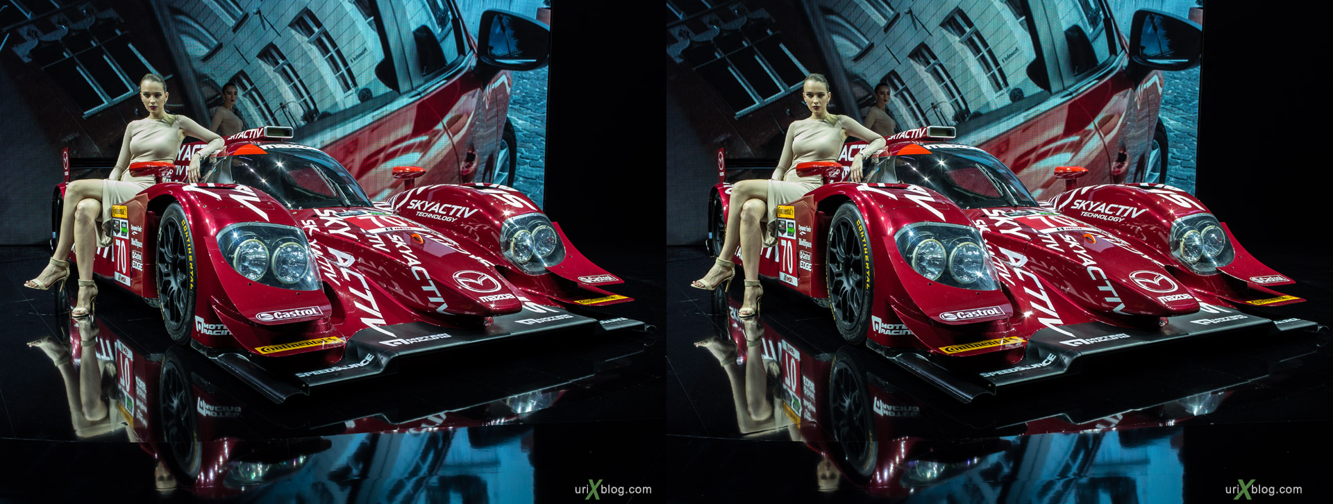 2014, Mazda, Moscow International Automobile Salon, MIAS, Crocus Expo, models, girls, Moscow, Russia, augest, 3D, stereo pair, cross-eyed, crossview, cross view stereo pair, stereoscopic