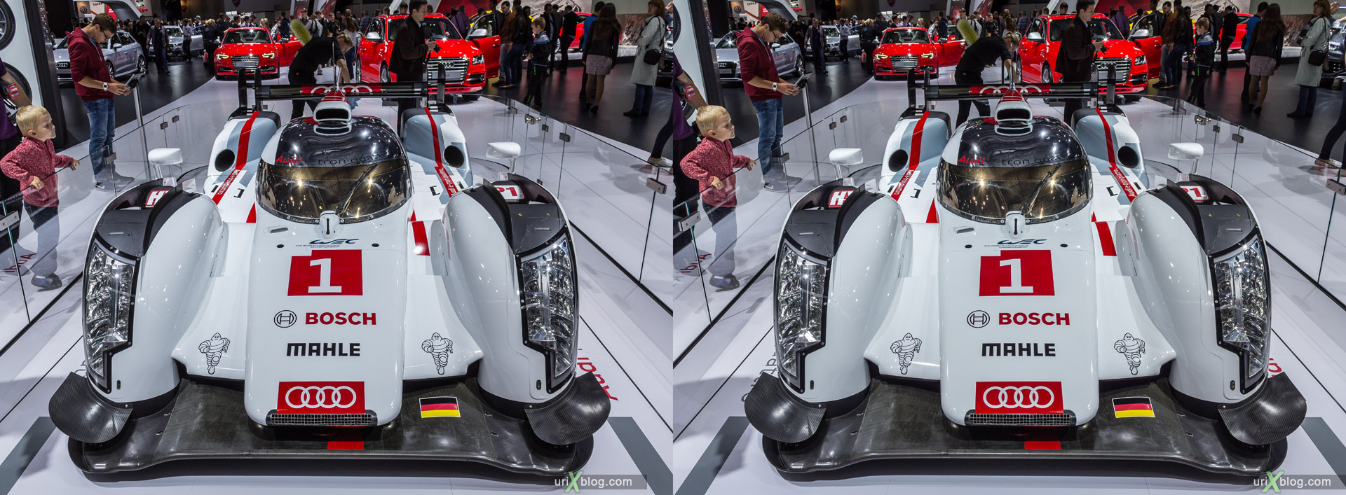 2014, Audi R18 e-tron quattro, Moscow International Automobile Salon, MIAS, Crocus Expo, Moscow, Russia, augest, 3D, stereo pair, cross-eyed, crossview, cross view stereo pair, stereoscopic