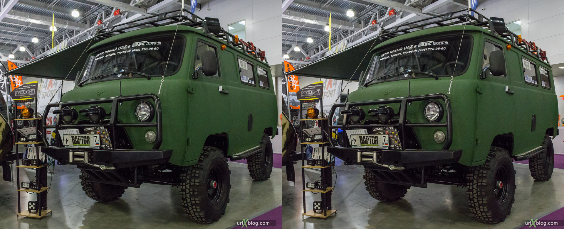 2014, New UAZ, Moscow International Automobile Salon, MIAS, Crocus Expo, Moscow, Russia, augest, 3D, stereo pair, cross-eyed, crossview, cross view stereo pair, stereoscopic