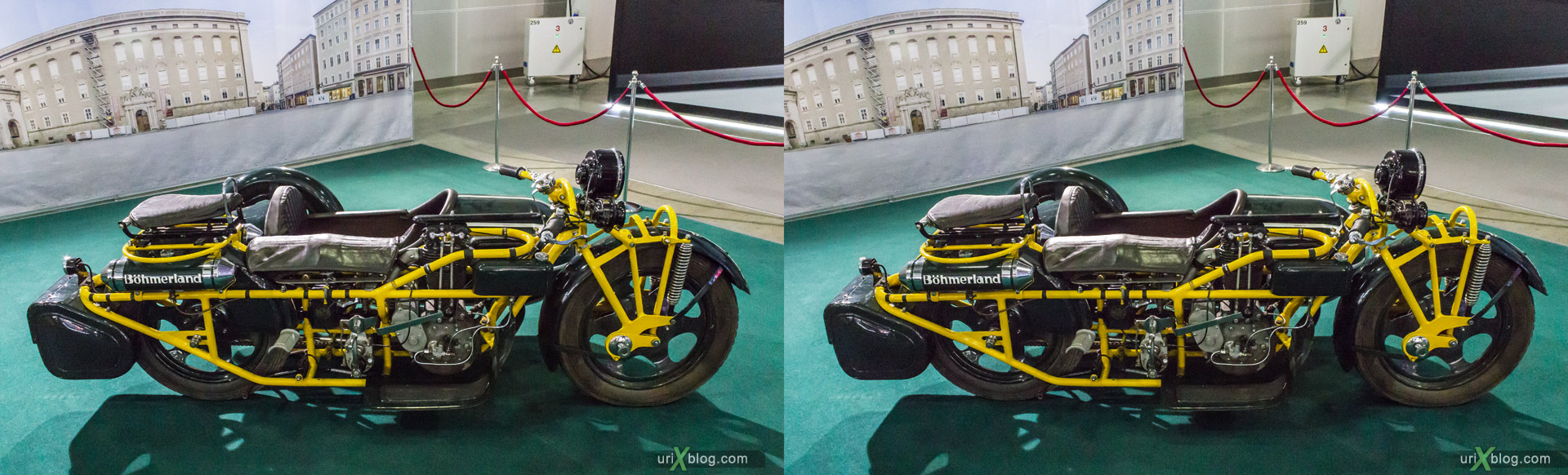 2014, motorcycle, motorbike, 1930 Böhmerland, Moscow International Automobile Salon, MIAS, Crocus Expo, Moscow, Russia, augest, 3D, stereo pair, cross-eyed, crossview, cross view stereo pair, stereoscopic
