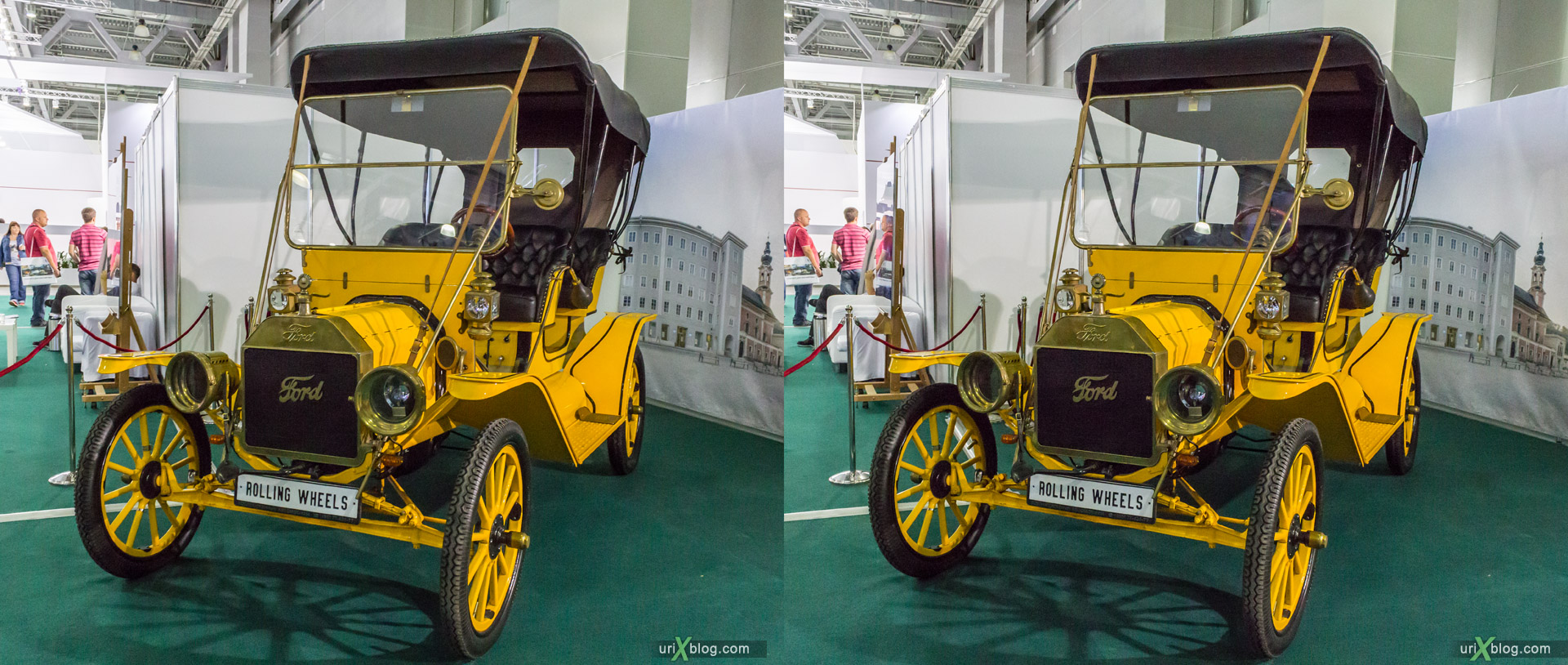 2014, Old Ford, Moscow International Automobile Salon, MIAS, Crocus Expo, Moscow, Russia, augest, 3D, stereo pair, cross-eyed, crossview, cross view stereo pair, stereoscopic