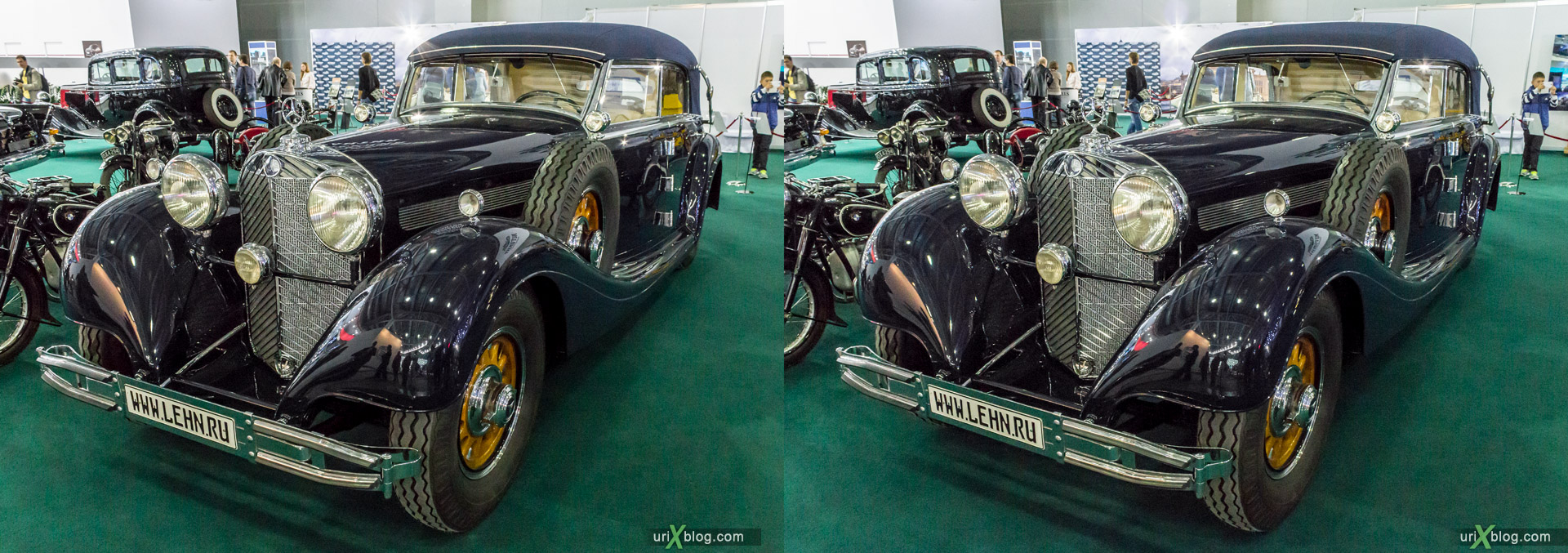 2014, Old Mercedes-Benz, Moscow International Automobile Salon, MIAS, Crocus Expo, Moscow, Russia, augest, 3D, stereo pair, cross-eyed, crossview, cross view stereo pair, stereoscopic