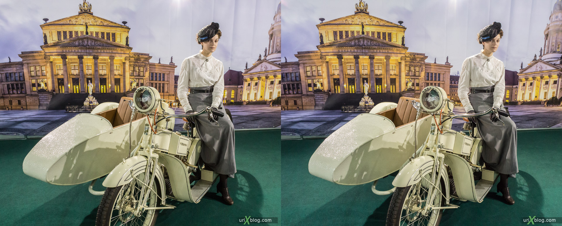 2014, old motorcycle, motorbike, Moscow International Automobile Salon, MIAS, Crocus Expo, Moscow, Russia, augest, 3D, stereo pair, cross-eyed, crossview, cross view stereo pair, stereoscopic