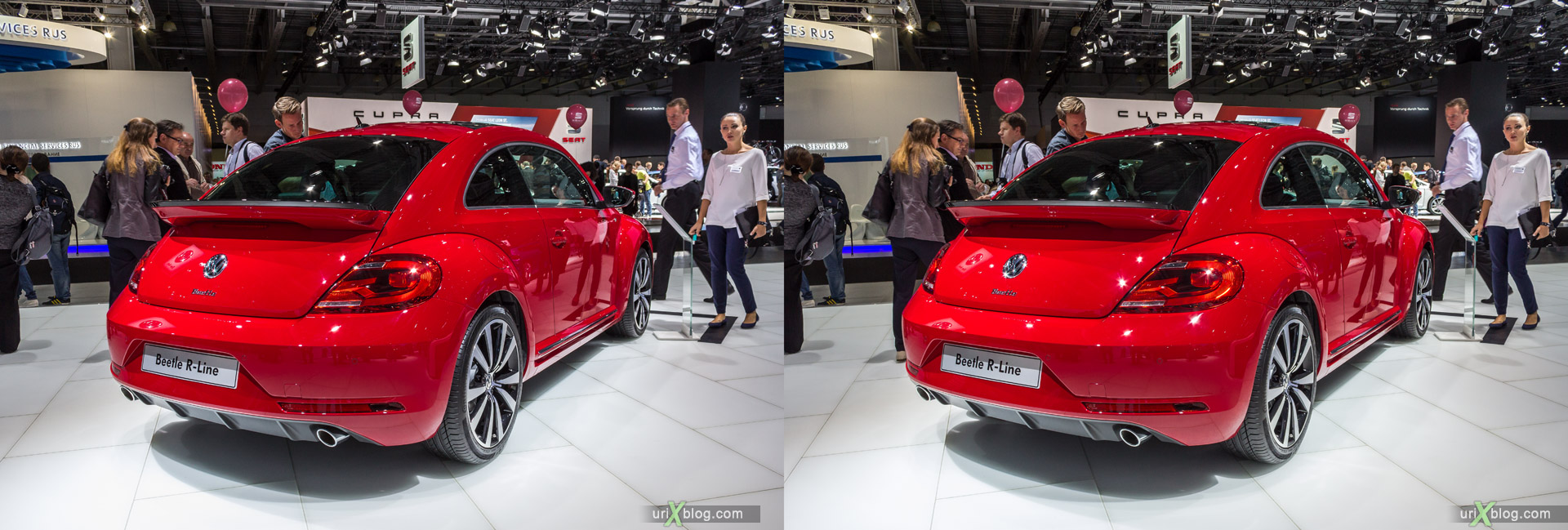 2014, Volkswagen Beetle, Moscow International Automobile Salon, MIAS, Crocus Expo, Moscow, Russia, augest, 3D, stereo pair, cross-eyed, crossview, cross view stereo pair, stereoscopic