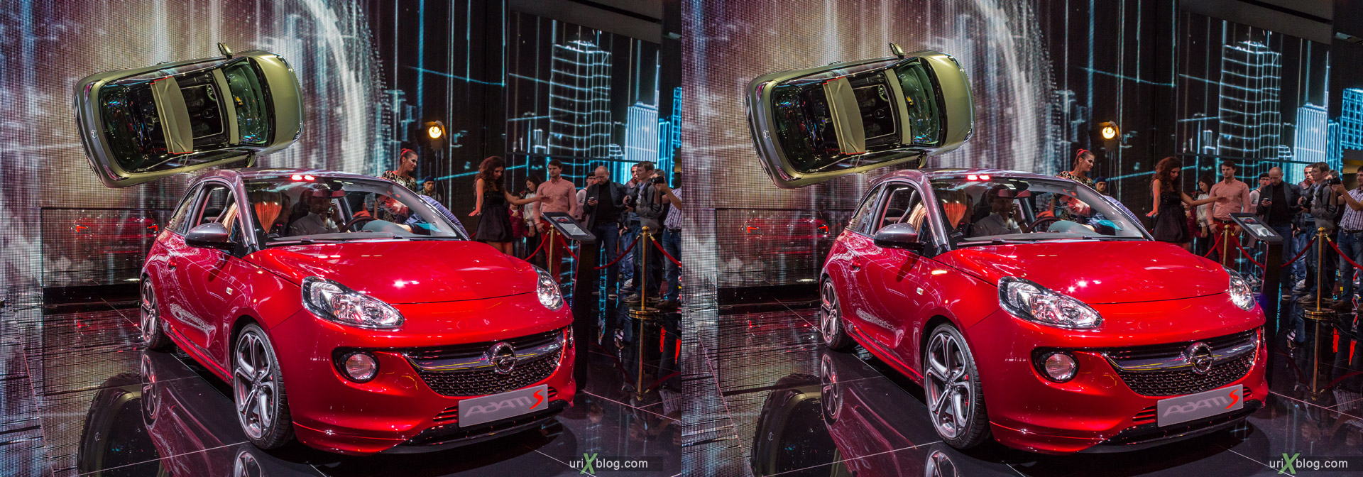 2014, Opel Adam, Moscow International Automobile Salon, MIAS, Crocus Expo, Moscow, Russia, augest, 3D, stereo pair, cross-eyed, crossview, cross view stereo pair, stereoscopic