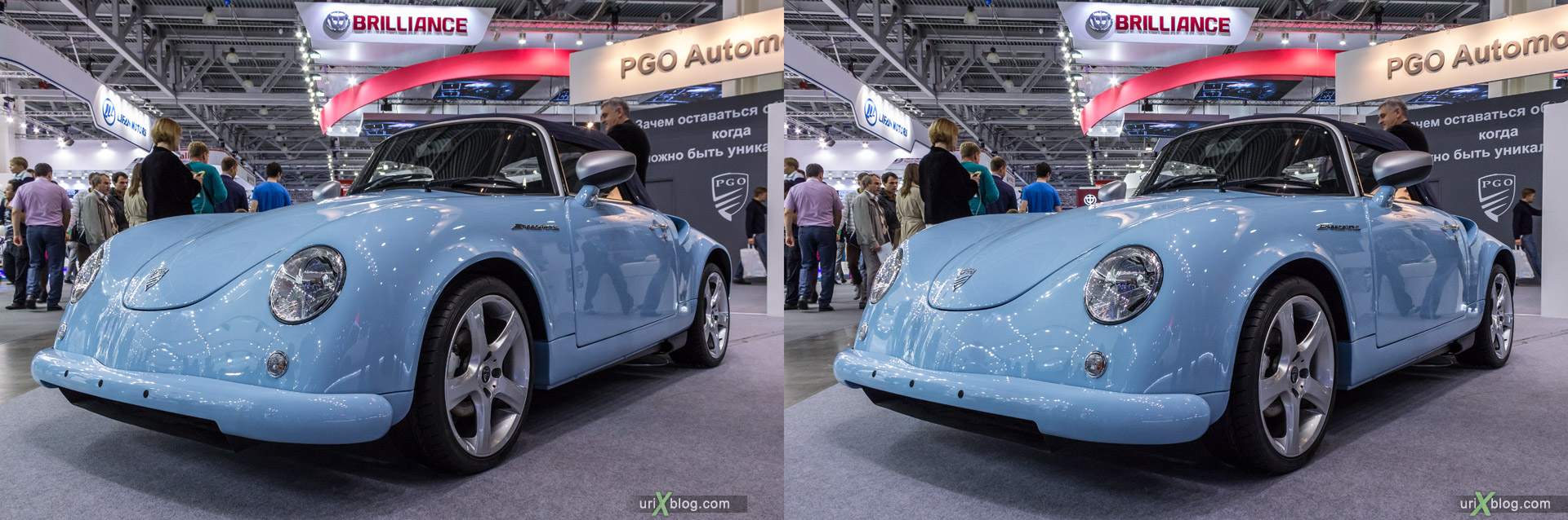 2014, PGO Speedster 2, Moscow International Automobile Salon, MIAS, Crocus Expo, Moscow, Russia, augest, 3D, stereo pair, cross-eyed, crossview, cross view stereo pair, stereoscopic