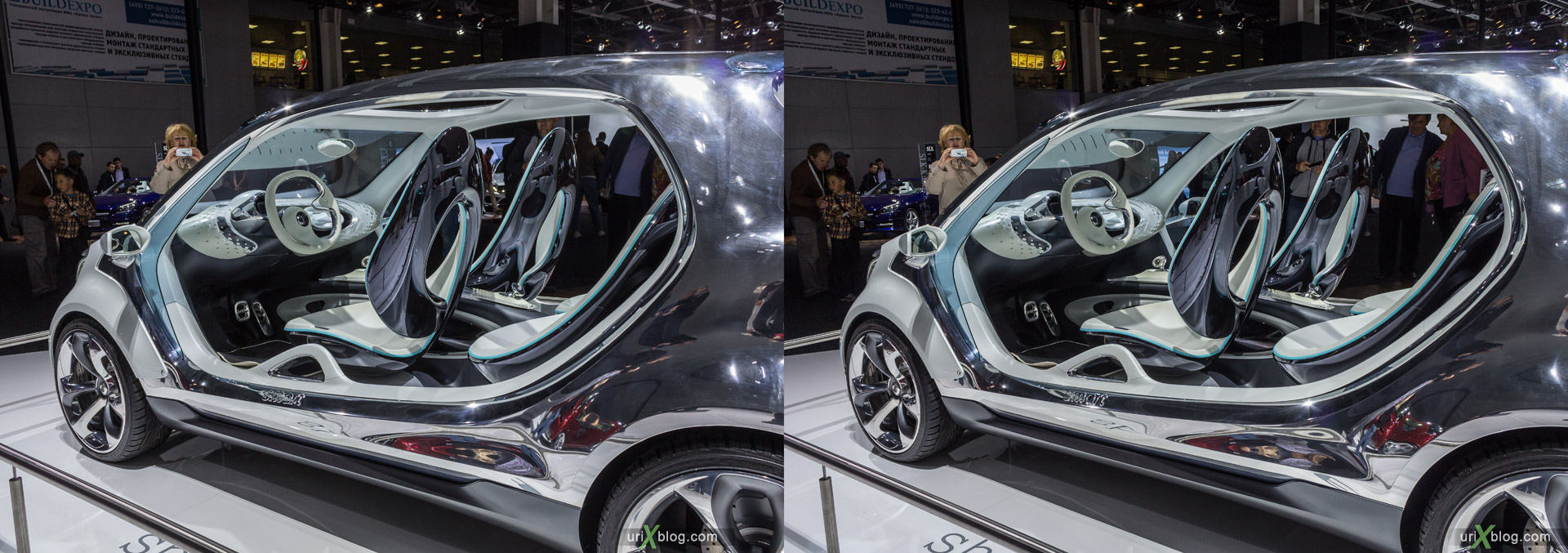 2014, smart, Moscow International Automobile Salon, MIAS, Crocus Expo, Moscow, Russia, augest, 3D, stereo pair, cross-eyed, crossview, cross view stereo pair, stereoscopic