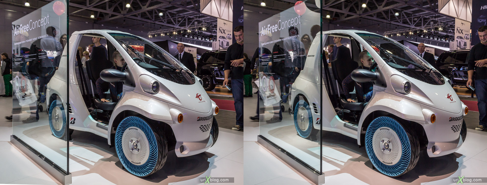 2014, Bridgestone Air-Free Concept tires, Moscow International Automobile Salon, MIAS, Crocus Expo, Moscow, Russia, augest, 3D, stereo pair, cross-eyed, crossview, cross view stereo pair, stereoscopic