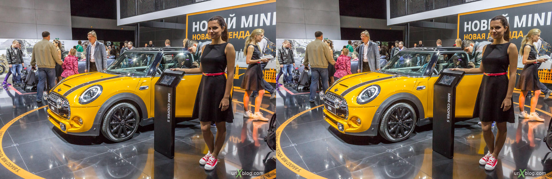 2014, Mini Cooper S, Moscow International Automobile Salon, MIAS, Crocus Expo, Moscow, Russia, augest, 3D, stereo pair, cross-eyed, crossview, cross view stereo pair, stereoscopic