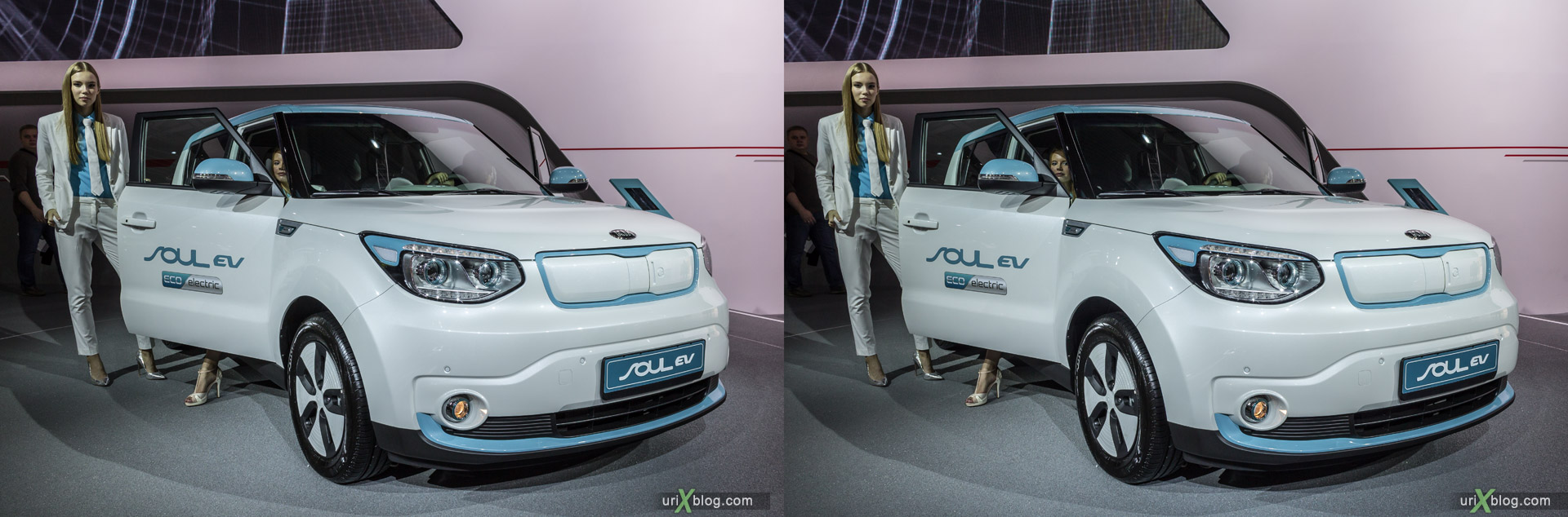 2014, Soul EV, Moscow International Automobile Salon, MIAS, Crocus Expo, Moscow, Russia, augest, 3D, stereo pair, cross-eyed, crossview, cross view stereo pair, stereoscopic