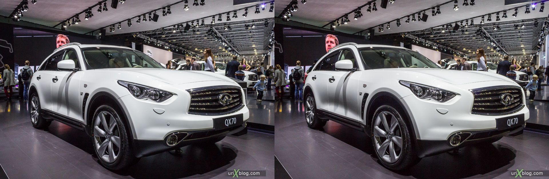 Infiniti QX70, Moscow International Automobile Salon 2014, MIAS 2014, girls, models, Crocus Expo, Moscow, Russia, 3D, stereo pair, cross-eyed, crossview, cross view stereo pair, stereoscopic, 2014