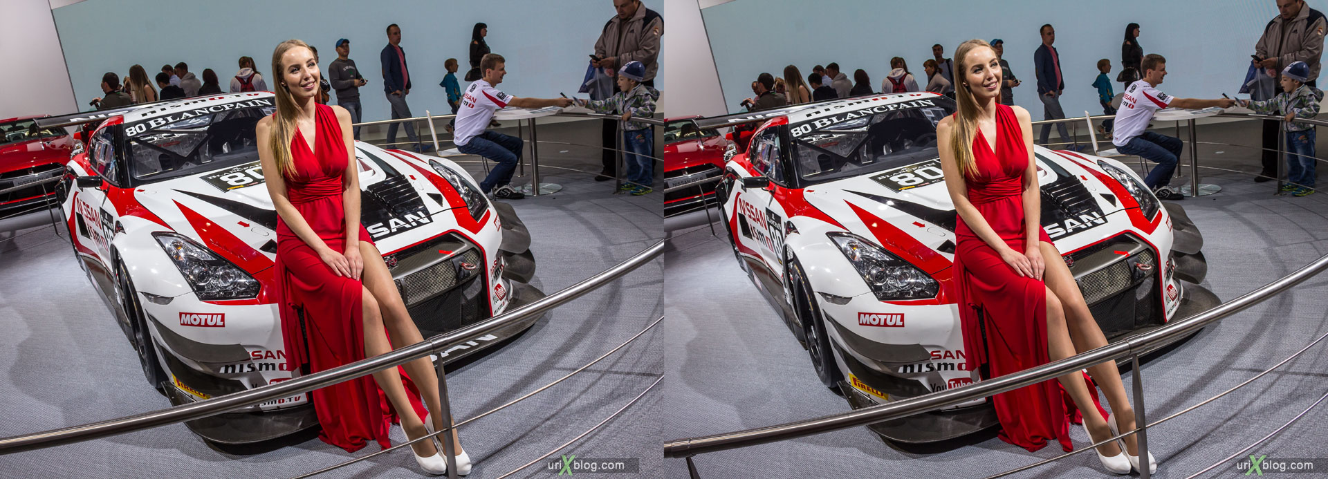 Nissan, Moscow International Automobile Salon 2014, MIAS 2014, girls, models, Crocus Expo, Moscow, Russia, 3D, stereo pair, cross-eyed, crossview, cross view stereo pair, stereoscopic, 2014