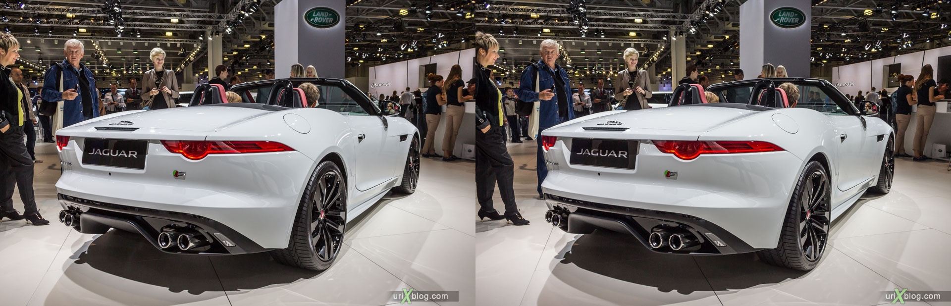 Jaguar F-type, Moscow International Automobile Salon 2014, MIAS 2014, girls, models, Crocus Expo, Moscow, Russia, 3D, stereo pair, cross-eyed, crossview, cross view stereo pair, stereoscopic, 2014
