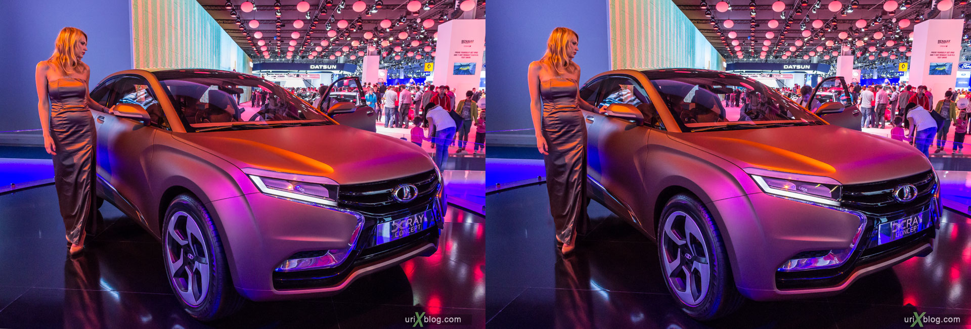 Lada Xray Concept, Moscow International Automobile Salon 2014, MIAS 2014, girls, models, Crocus Expo, Moscow, Russia, 3D, stereo pair, cross-eyed, crossview, cross view stereo pair, stereoscopic, 2014