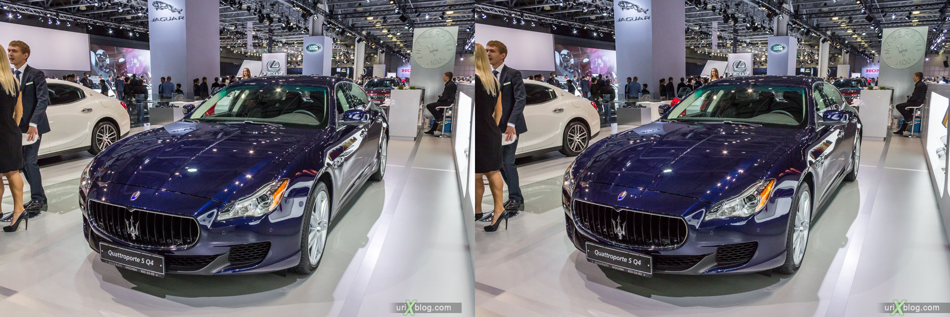Maserati Quattroporte S Q4, Moscow International Automobile Salon 2014, MIAS 2014, girls, models, Crocus Expo, Moscow, Russia, 3D, stereo pair, cross-eyed, crossview, cross view stereo pair, stereoscopic, 2014