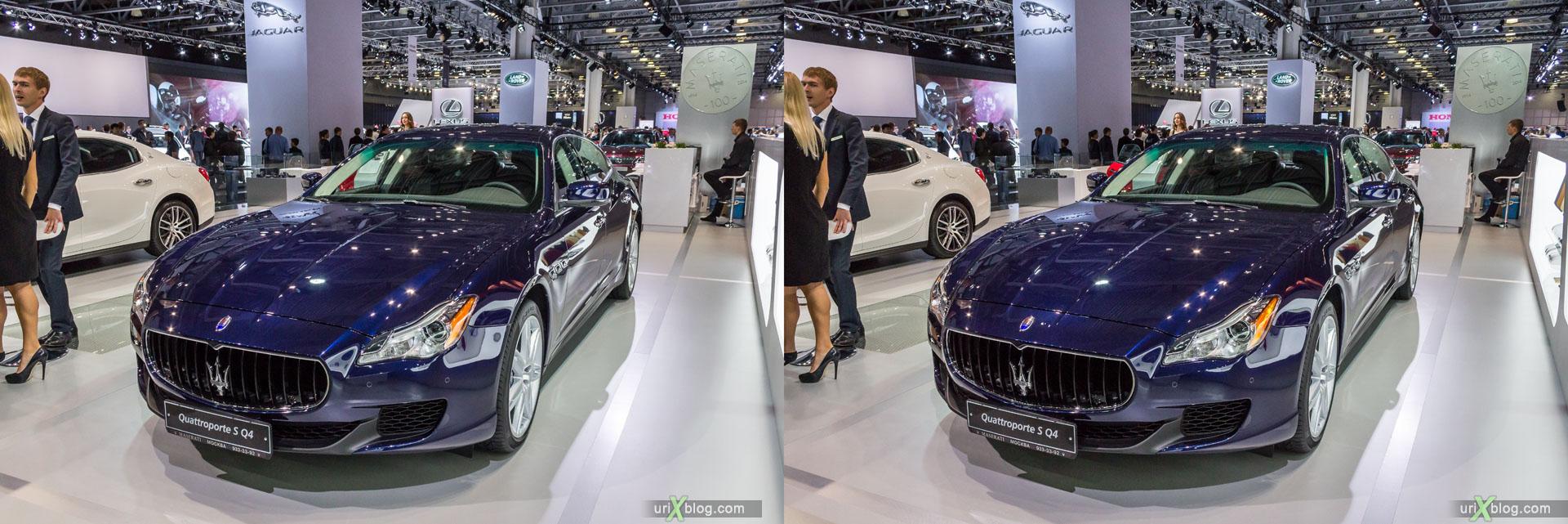 Maserati Quattroporte S Q4, ММАС 2014, Московский Международный Автомобильный Салон 2014, Крокус Экспо, машина, автомобиль, девушка, модель, женщина, выставка, Москва, Россия, 3D, перекрёстная стереопара, стерео, стереопара, 2014