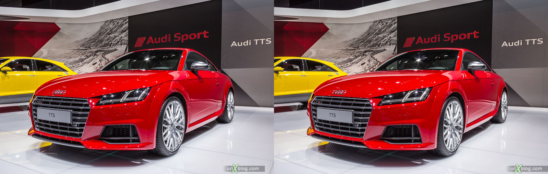 Audi TTS, Moscow International Automobile Salon 2014, MIAS 2014, girls, models, Crocus Expo, Moscow, Russia, 3D, stereo pair, cross-eyed, crossview, cross view stereo pair, stereoscopic, 2014