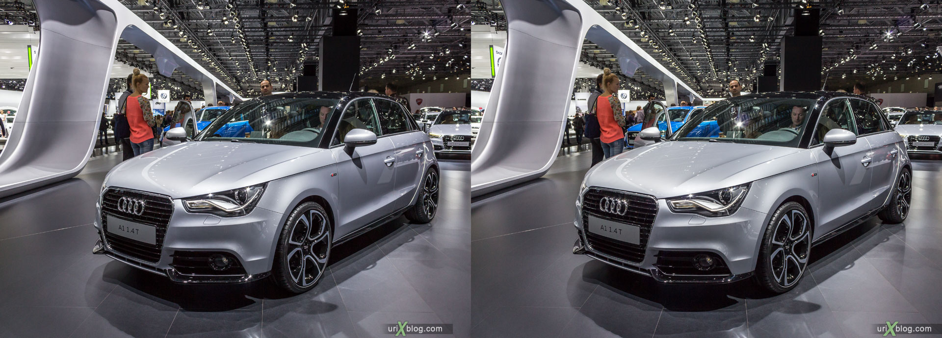 Audi A1 1.4T, Moscow International Automobile Salon 2014, MIAS 2014, girls, models, Crocus Expo, Moscow, Russia, 3D, stereo pair, cross-eyed, crossview, cross view stereo pair, stereoscopic, 2014