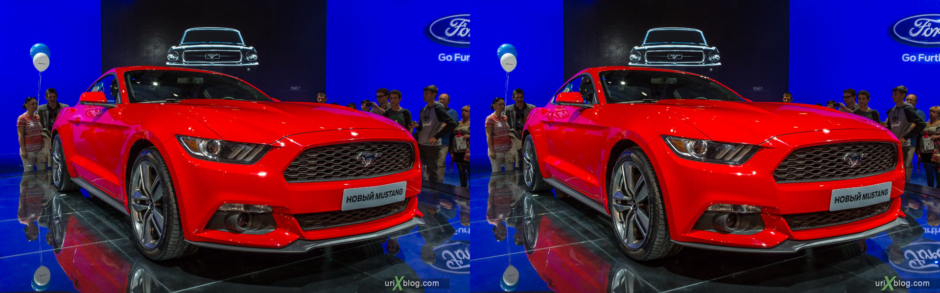 New Mustang, Moscow International Automobile Salon 2014, MIAS 2014, girls, models, Crocus Expo, Moscow, Russia, 3D, stereo pair, cross-eyed, crossview, cross view stereo pair, stereoscopic, 2014