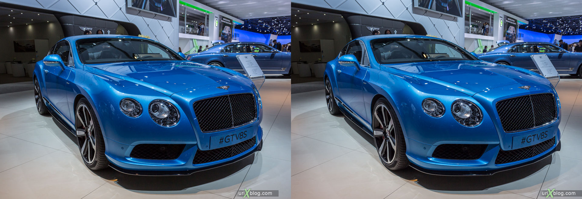 Bentley GTV8S, Moscow International Automobile Salon 2014, MIAS 2014, girls, models, Crocus Expo, Moscow, Russia, 3D, stereo pair, cross-eyed, crossview, cross view stereo pair, stereoscopic, 2014