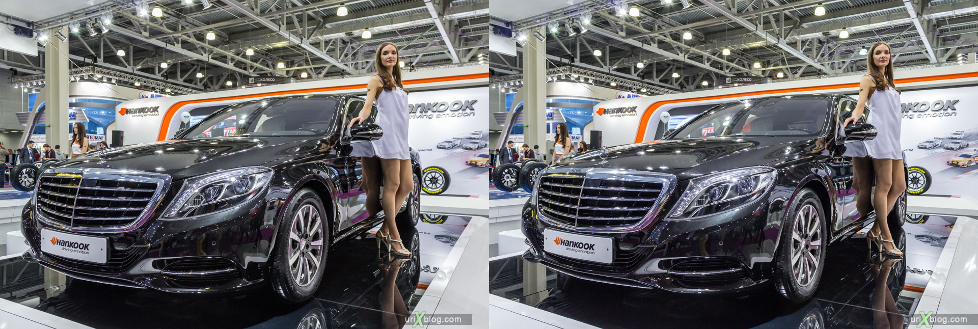 Mercedes-Benz **, Moscow International Automobile Salon 2014, MIAS 2014, girls, models, Crocus Expo, Moscow, Russia, 3D, stereo pair, cross-eyed, crossview, cross view stereo pair, stereoscopic, 2014