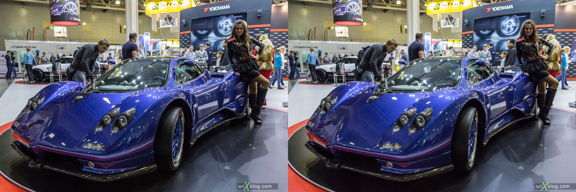 Pagani, Moscow International Automobile Salon 2014, MIAS 2014, girls, models, Crocus Expo, Moscow, Russia, 3D, stereo pair, cross-eyed, crossview, cross view stereo pair, stereoscopic, 2014