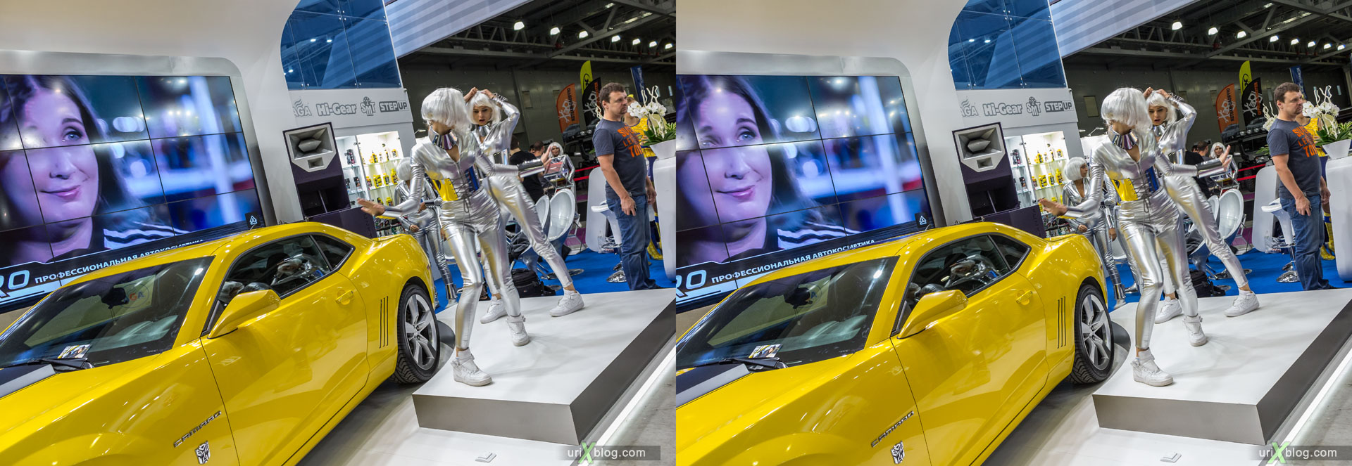 Moscow International Automobile Salon 2014, MIAS 2014, girls, models, Crocus Expo, Moscow, Russia, 3D, stereo pair, cross-eyed, crossview, cross view stereo pair, stereoscopic, 2014
